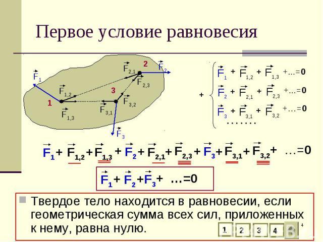 Твердое тело находится в равновесии, если геометрическая сумма всех сил, приложенных к нему, равна нулю. Твердое тело находится в равновесии, если геометрическая сумма всех сил, приложенных к нему, равна нулю.