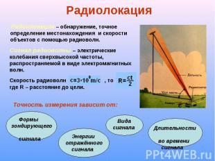 Радиолокация – обнаружение, точное определение местонахождения и скорости объект