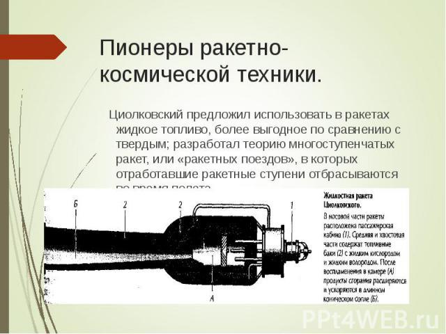Циолковский предложил использовать в ракетах жидкое топливо, более выгодное по сравнению с твердым; разработал теорию многоступенчатых ракет, или «ракетных поездов», в которых отработавшие ракетные ступени отбрасываются во время полета. Циолковский …