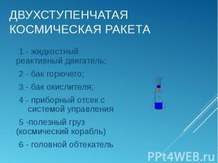 1 - жидкостный реактивный двигатель; 1 - жидкостный реактивный двигатель; 2 - ба