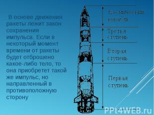 В основе движения ракеты лежит закон сохранения импульса. Если в некоторый момен