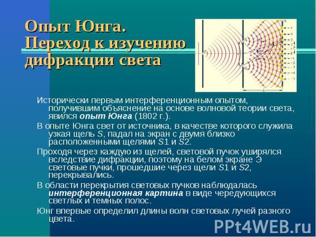 Исторически первым интерференционным опытом, получившим объяснение на основе волновой теории света, явился опыт Юнга (1802г.). Исторически первым интерференционным опытом, получившим объяснение на основе волновой теории света, явился опыт Юнга…