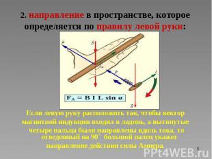 Если левую руку расположить так, чтобы вектор магнитной индукции входил в ладонь