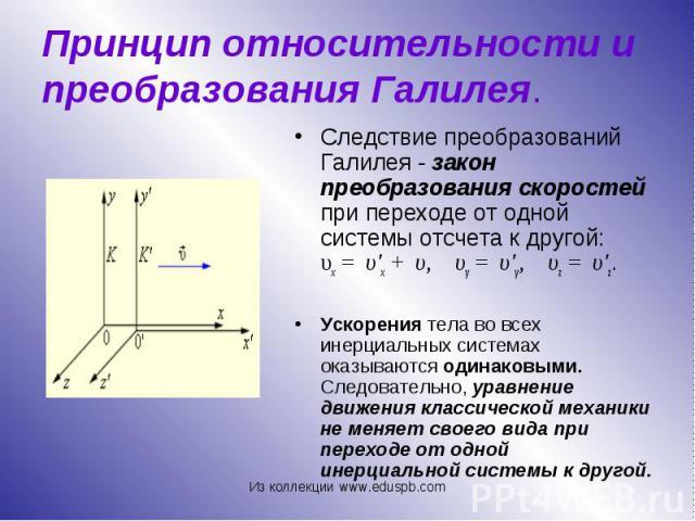 Следствие преобразований Галилея - закон преобразования скоростей при переходе от одной системы отсчета к другой: υx= υ'x+ υ, υy= υ'y, υz= υ'z. Следствие преобразова…