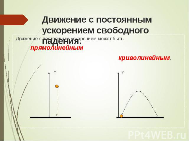 Движение с постоянным ускорением может быть Движение с постоянным ускорением может быть прямолинейным криволинейным.