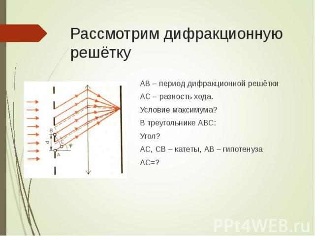 АВ – период дифракционной решётки АВ – период дифракционной решётки АС – разность хода. Условие максимума? В треугольнике АВС: Угол? АС, СВ – катеты, АВ – гипотенуза АС=?