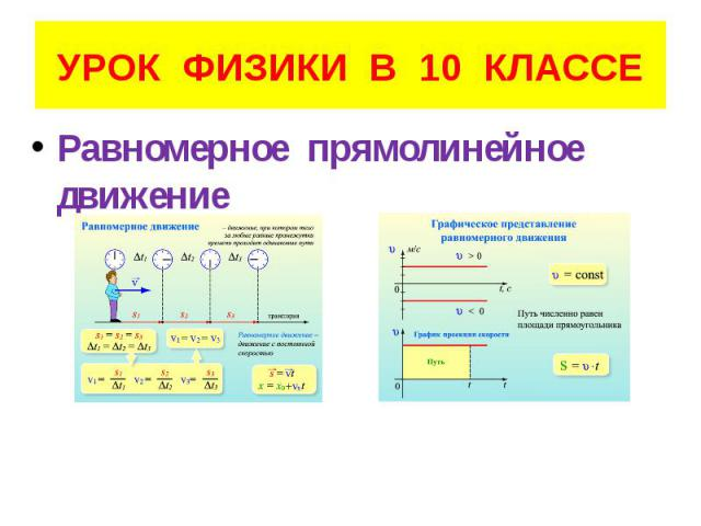 УРОК ФИЗИКИ В 10 КЛАССЕ Равномерное прямолинейное движение