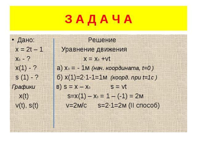З А Д А Ч А Дано: Решение х = 2t – 1 Уравнение движения х0 - ? х = х0 +vt х(1) - ? а) х0 = - 1м (нач. координата, t=0 ) s (1) - ? б) х(1)=2·1-1=1м (коорд. при t=1с ) Графики в) s = x – x0 s = vt x(t) s=x(1) – x0 = 1 – (-1) = 2м v(t), s(t) v=2м/с s=2…