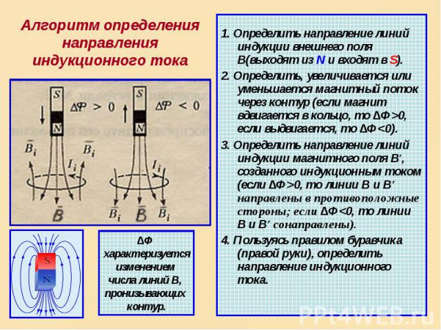 1. Определить направление линий индукции внешнего поля В(выходят из N и входят в S). 2. Определить, увеличивается или уменьшается магнитный поток через контур (если магнит вдвигается в кольцо, то ∆Ф>0, если выдвигается, то ∆Ф<0). 3. Определить…