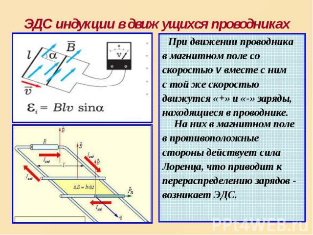 При движении проводника При движении проводника в магнитном поле со скоростью v вместе с ним с той же скоростью движутся «+» и «-» заряды, находящиеся в проводнике. На них в магнитном поле в противоположные стороны действует сила Лоренца, что привод…