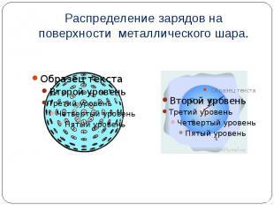 Распределение зарядов на поверхности металлического шара.
