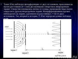 Томас Юнг наблюдал интерференцию от двух источников, прокалывая на малом расстоя