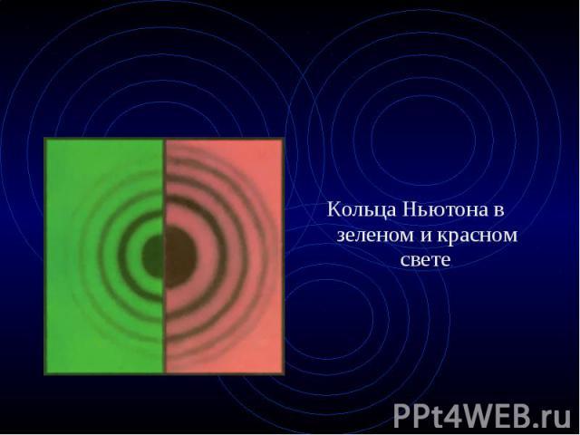 Кольца Ньютона в зеленом и красном свете. Кольца Ньютона в зеленом и красном свете.