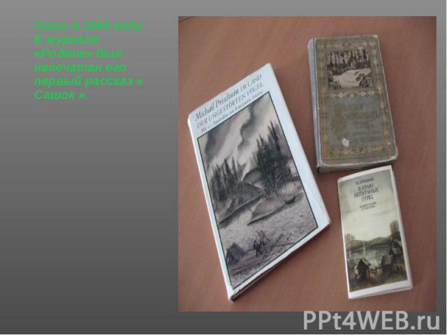 Лишь в 1906 году Лишь в 1906 году В журнале «Родник» был напечатан его первый рассказ « Сашок ».
