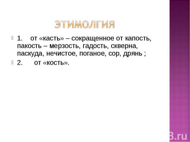 1. от «касть» – сокращенное от капость, пакость – мерзость, гадость, скверна, паскуда, нечистое, поганое, сор, дрянь ; 1. от «касть» – сокращенное от капость, пакость – мерзость, гадость, скверна, паскуда, нечистое, поганое, сор, дрянь ; 2. от «кость».