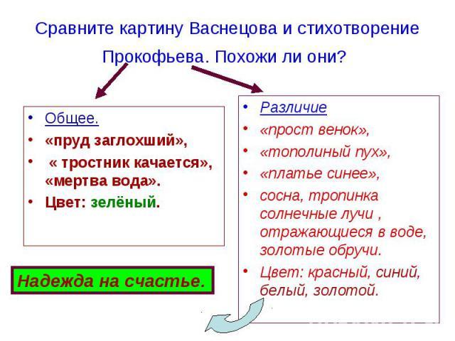 Общее. Общее. «пруд заглохший», « тростник качается», «мертва вода». Цвет: зелёный.