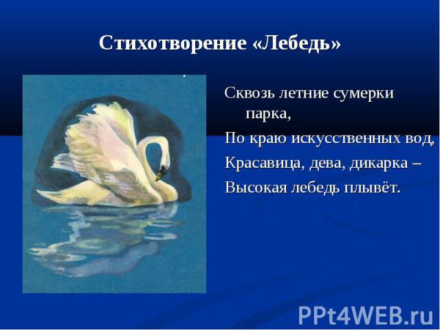 Сквозь летние сумерки парка, Сквозь летние сумерки парка, По краю искусственных вод, Красавица, дева, дикарка – Высокая лебедь плывёт.