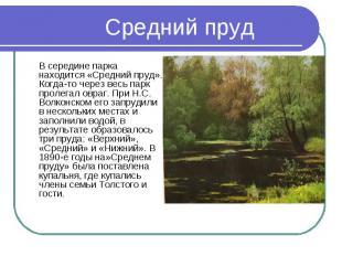 В середине парка находится «Средний пруд». Когда-то через весь парк пролегал овр