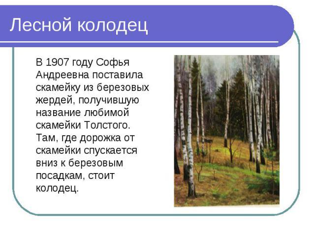 В 1907 году Софья Андреевна поставила скамейку из березовых жердей, получившую название любимой скамейки Толстого. Там, где дорожка от скамейки спускается вниз к березовым посадкам, стоит колодец. В 1907 году Софья Андреевна поставила скамейку из бе…