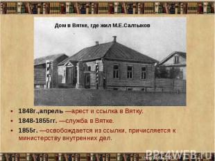 1848г.,апрель —арест и ссылка в Вятку. 1848г.,апрель —арест и ссылка в Вятку. 18