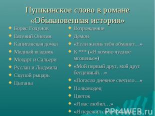 Борис Годунов Борис Годунов Евгений Онегин Капитанская дочка Медный всадник Моца