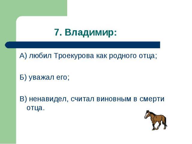 А) любил Троекурова как родного отца; А) любил Троекурова как родного отца; Б) уважал его; В) ненавидел, считал виновным в смерти отца.