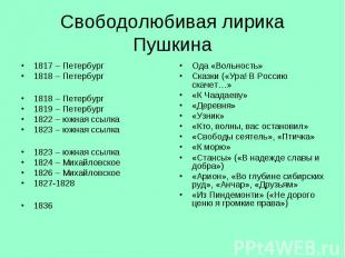 1817 – Петербург 1817 – Петербург 1818 – Петербург 1818 – Петербург 1819 – Петер