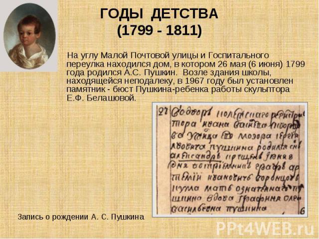 На углу Малой Почтовой улицы и Госпитального переулка находился дом, в котором 26 мая (6 июня) 1799 года родился А.С. Пушкин. Возле здания школы, находящейся неподалеку, в 1967 году был установлен памятник - бюст Пушкина-ребенка работы скульптора Е.…