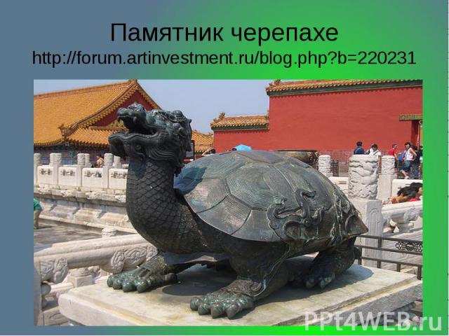 Памятник черепахе http://forum.artinvestment.ru/blog.php?b=220231