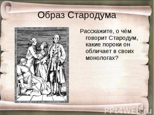 Расскажите, о чём говорит Стародум, какие пороки он обличает в своих монологах?