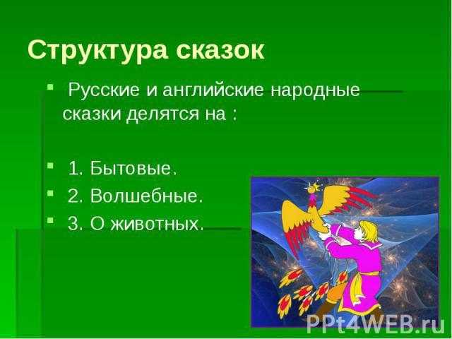 Структура сказок Русские и английские народные сказки делятся на : 1. Бытовые. 2. Волшебные. 3. О животных.