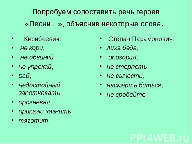 Кирибеевич: Кирибеевич: не кори, не обвиняй, не упрекай, раб, недостойный, запотчевать, прогневал, прикажи казнить, тяготит.
