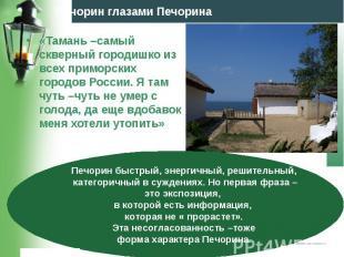 «Тамань –самый скверный городишко из всех приморских городов России. Я там чуть