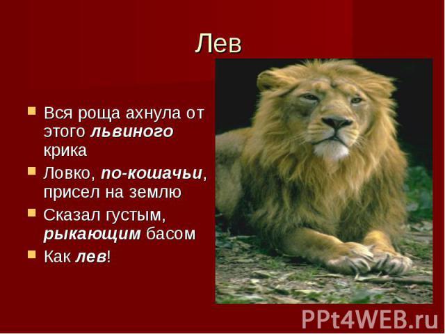 Вся роща ахнула от этого львиного крика Ловко, по-кошачьи, присел на землю Сказал густым, рыкающим басом Как лев!