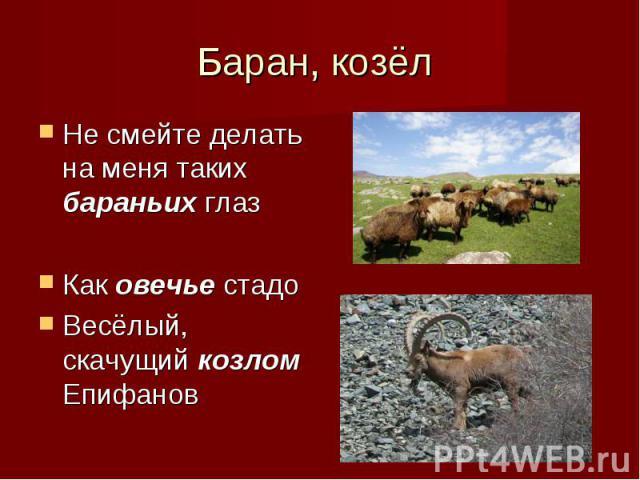 Не смейте делать на меня таких бараньих глаз Не смейте делать на меня таких бараньих глаз Как овечье стадо Весёлый, скачущий козлом Епифанов