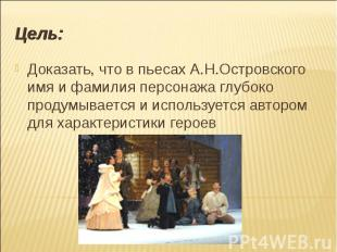 Доказать, что в пьесах А.Н.Островского имя и фамилия персонажа глубоко продумыва