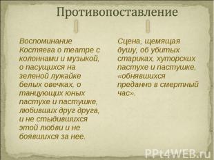 Воспоминание Костяева о театре с колоннами и музыкой, о пасущихся на зеленой луж