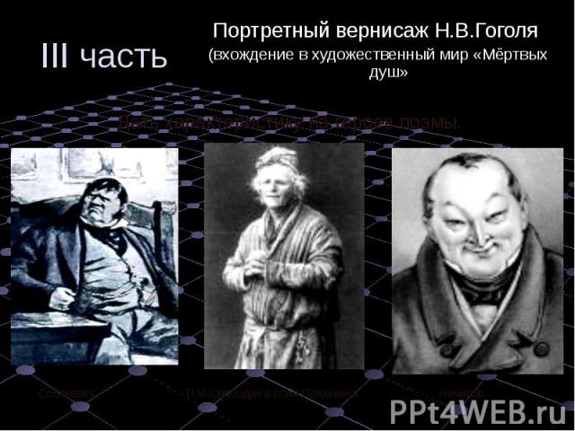 Портретный вернисаж Н.В.Гоголя Портретный вернисаж Н.В.Гоголя (вхождение в художественный мир «Мёртвых душ»