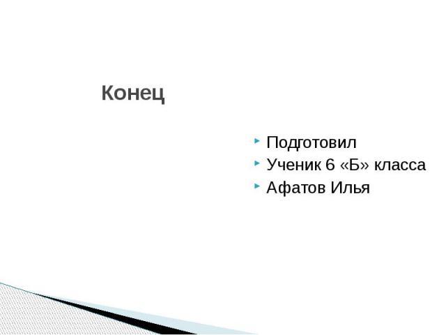 Конец Подготовил Ученик 6 «Б» класса Афатов Илья
