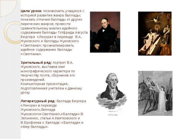 Цели урока: познакомить учащихся с историей развития жанра баллады; показать отличия баллады от других лирических жанров; провести сравнительному анализ идейного содержания баллады Готфрида Августа Бюргера «Ленора» в переводе В.А. Жуковского и балла…