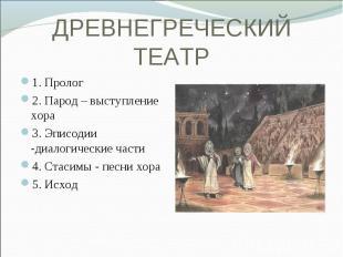 1. Пролог 1. Пролог 2. Парод – выступление хора 3. Эписодии -диалогические части