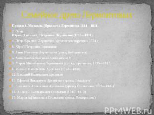 Семейное древо Лермонтовых Предки 1. Михаила Юрьевича Лермонтова 1814—1841 2. От