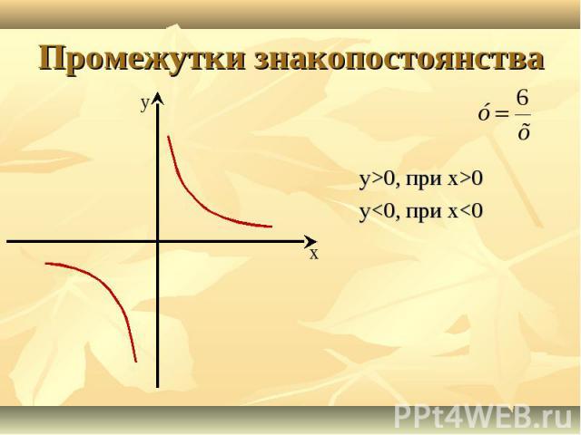 у>0, при х>0 у<0, при х<0