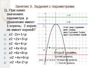 Занятие 5. Задания с параметрами. 1). При каких значениях параметра р уравнение