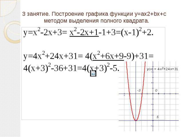 3 занятие. Построение графика функции y=ax2+bx+c методом выделения полного квадрата.