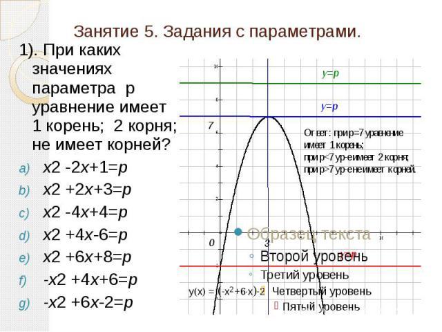 Занятие 5. Задания с параметрами. 1). При каких значениях параметра р уравнение имеет 1 корень; 2 корня; не имеет корней? x2 -2x+1=p x2 +2x+3=p x2 -4x+4=p x2 +4x-6=p x2 +6x+8=p -x2 +4x+6=p -x2 +6x-2=p