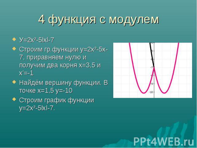 У=2х²-5lхl-7 У=2х²-5lхl-7 Строим гр.функции у=2х²-5х-7, приравняем нулю и получим два корня х=3,5 и х'=-1 Найдём вершину функции. В точке х=1,5 у=-10 Строим график функции у=2х²-5lхl-7.