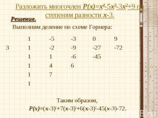 Решение. Решение. Выполним деление по схеме Горнера: Таким образом, Р(х)=(х-3)4+