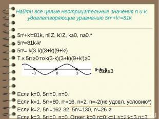 5n4+k5=81k, nϵZ, kϵZ, k≥0, n≥0.* 5n4+k5=81k, nϵZ, kϵZ, k≥0, n≥0.* 5n4=81k-k5 5n4