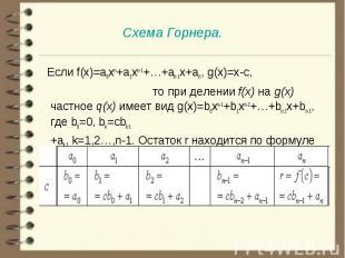 Если f(x)=a0xn+a1xn-1+…+an-1x+an, g(x)=x-c, то при делении f(x) на g(x) частное